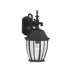 Designers Fountain Black 1 Light 9.5in. Cast Aluminum Wall Lantern from the Tiverton Collection