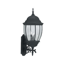 Designers Fountain Black 3 Light 13in. Cast Aluminum Wall Lantern from the Tiverton Collection