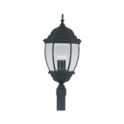 Designers Fountain Black 3 Light 13in. Cast Aluminum Post Lantern from the Tiverton Collection