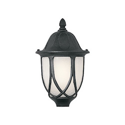 Designers Fountain Black 1 Light 9in. Cast Aluminum Post Lantern from the Capella Collection