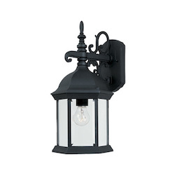 Designers Fountain Black 1 Light 8in. Cast Aluminum Wall Lantern from the Devonshire Collection