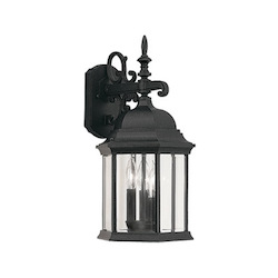 Designers Fountain Black 3 Light 9.5in. Cast Aluminum Wall Lantern from the Devonshire Collection