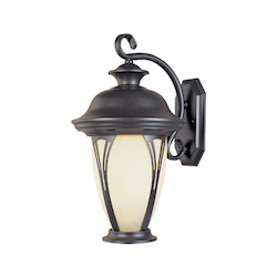 Designers Fountain Bronze w/amber glass 1 Light 7in. Wall Lantern from the Westchester Collection