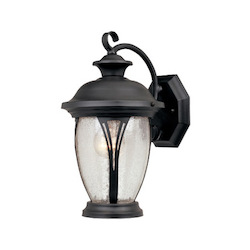 Designers Fountain Bronze w/seedy glass 1 Light 7in. Wall Lantern from the Westchester Collection