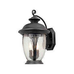Designers Fountain Bronze w/seedy glass 3 Light 11in. Wall Lantern from the Westchester Collection