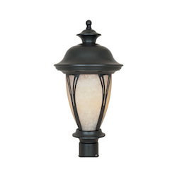 Designers Fountain Bronze w/amber glass 3 Light 11in. Post Lantern from the Westchester Collection