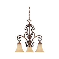 Designers Fountain Burnished Walnut With Gold Three Light Down Lighting Chandelier