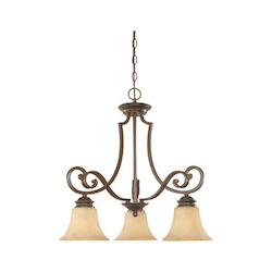 Designers Fountain Forged Sienna Three Light Down Lighting Chandelier from the Mendocino Collection