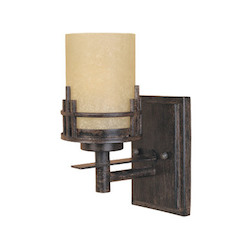 Designers Fountain Warm Mahogany Asian Single Light Up Lighting Wall Sconce
