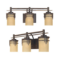 Designers Fountain Warm Mahogany Asian Three Light Down Lighting 23.5