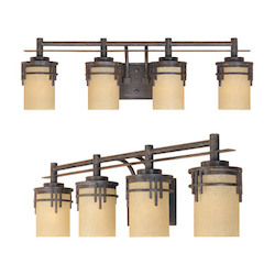 Designers Fountain Warm Mahogany Asian Four Light Down Lighting 29.5