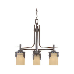 Designers Fountain Warm Mahogany Asian Three Light Down Lighting Chandelier