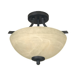 Designers Fountain Burnished Bronze 2 Light Semi-Flush Ceiling Fixture from the Tackwood Collection