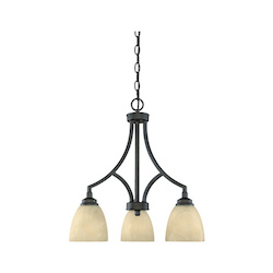 Designers Fountain Burnished Bronze 3 Light Chandelier from the Tackwood Collection