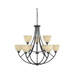Designers Fountain Burnished Bronze 9 Light 2 Tier Chandelier from the Tackwood Collection