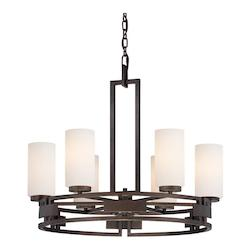 Designers Fountain Flemish Bronze 6 Light Up Lighting Chandelier from the Del Ray Collection