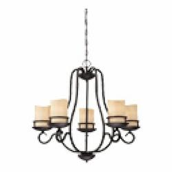 Designers Fountain Natural Iron Lauderhill 5 Light 1 Tier Up Lighting Chandelier