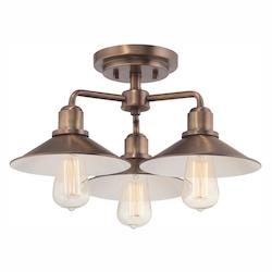 Designers Fountain Old Satin Brass Newbury Station 3 Light Semi Flush Ceiling Fixtures