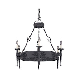 Designers Fountain Natural Iron 6 Light Island Chandelier from the Alhambra Collection