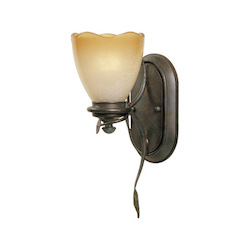 Designers Fountain Old Bronze Single Light Up Lighting Wall Sconce from the Timberline Collection