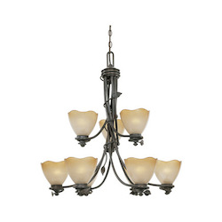 Designers Fountain Old Bronze Nine Light Up Lighting Two Tier Chandelier Timberline Collection