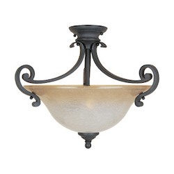 Designers Fountain Natural Iron Two Light Down Lighting Semi Flush Ceiling Fixture