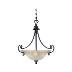 Designers Fountain Natural Iron Three Light Down Lighting Bowl Pendant Barcelona Collection