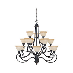 Designers Fountain Natural Iron Fifteen Light Up Lighting Three Tier Chandelier