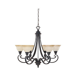 Designers Fountain Natural Iron Six Light Up Lighting Chandelier from the Barcelona Collection