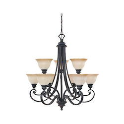 Designers Fountain Natural Iron 9 Light Up Lighting Two Tier Chandelier Barcelona Collection