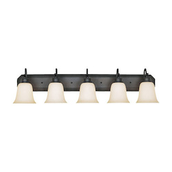 Designers Fountain Oil Rubbed Bronze Five Light Up Lighting Bathroom Fixture