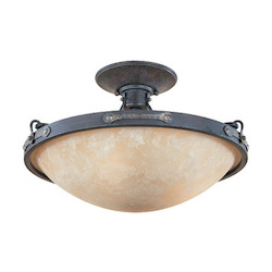 Designers Fountain Weathered Saddle Austin Three Light Down Lighting Semi Flush Ceiling Fixture