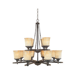 Designers Fountain Weathered Saddle Twelve Light Up Lighting Two Tier Chandelier