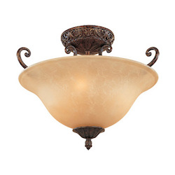 Designers Fountain Burnt Umber Three Light Down Lighting Semi Flush Ceiling Fixture