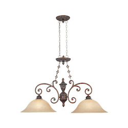 Designers Fountain Burnt Umber Two Light Down Lighting Island / Billiard Fixture