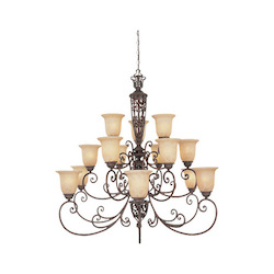 Designers Fountain Burnt Umber Fifteen Light Up Lighting Three Tier Chandelier