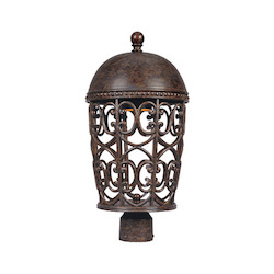 Designers Fountain Burnt Umber Single Light Up Lighting Post Light Dark Sky Amherst Collection