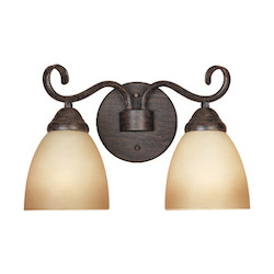 Designers Fountain Satin Platinum Two Light Bathroom Fixture From The Stratton Collection