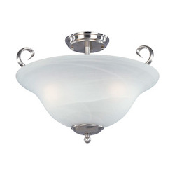 Designers Fountain Satin Platinum Three Light Down Lighting Semi Flush Ceiling Fixture