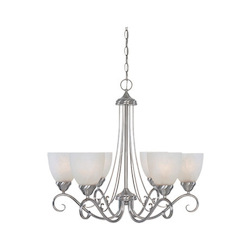 Designers Fountain Satin Platinum Six Light Up Lighting Chandelier from the Stratton Collection