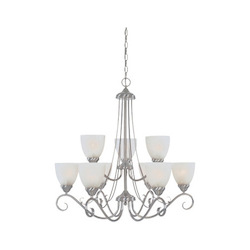 Designers Fountain Satin Platinum Nine Light Up Lighting Two Tier Chandelier Stratton Collection