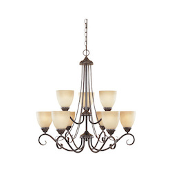 Designers Fountain Satin Platinum Nine Light Up Lighting Two Tier Chandelier