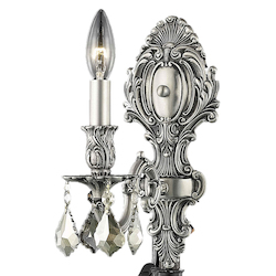 Elegant Lighting Royal Cut Smoky Golden Teak Crystal Monarch 1-Light Crystal Wall Sconce