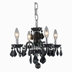 Elegant Lighting Royal Cut Jet Black Crystal Avalon 4-Light
