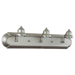 Craftmade Brushed Nickel Racetrack 3 Light Bathroom Vanity Light - 24 Inches Wide