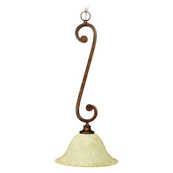 Craftmade Peruvian Scroll 1 Light Bell Shaped Pendant - 12 Inches Wide