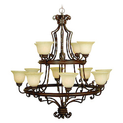 Craftmade Thirty Nine Light Antique Scavo Glass Aged Bronze Up Chandelier