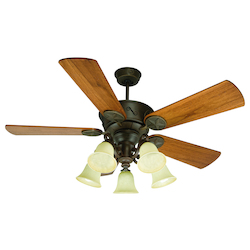 Craftmade Five Light Ag - Aged Bronze Antique Scavo Glass Ceiling Fan
