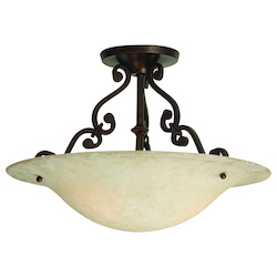 Craftmade Aged Bronze Scroll 3 Light Semi Flush Ceiling Fixture