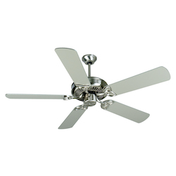 Craftmade Indoor Ceiling Fan With Five 52' Plus Series Brushed Nickel, Stainless Steel